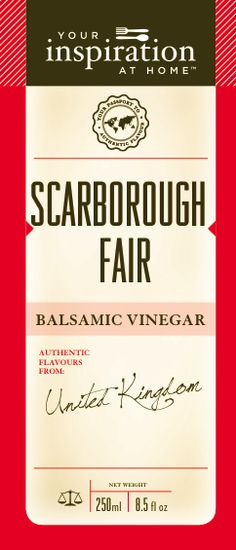 Scarborough Fair Balsalmic Vinegar #yiah #oilsandvinegars Parsley, sage, rosemary and thyme - are you going to Scarborough Fair? A savoury raspberry English countryside delight.