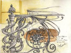 pencil, ink and watercolor of staircase in museum in Paris