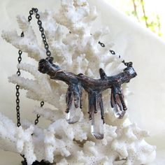 Electroformed natural walnut branch necklace by LaurelinJewelry, $60