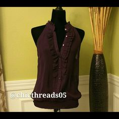 ***Women's*** Beautiful Purple Shirt Beautiful Sheer Top with Ruffles in the Front near Neckline. This shirt is in Great Condition with no Rips or Tears. Forever 21 Tops Blouses