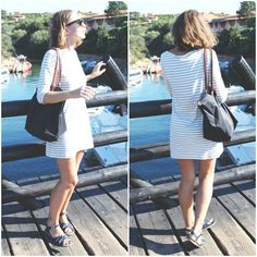 Filippa K Striped Dress, Ray Ban Sunglasses, Longchamp Le Pliage Bag, Saltwater Sandals Sandals
