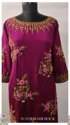 Zardozi Embroidery, Embroidery On Kurtis, Kurti Embroidery Design, Hand Embroidery Designs, Anarkali, Lehenga, Bridal Suits Punjabi, Saree Tassels, Deli Food