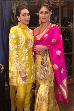 Beautiful Sisters Twinning In Yellow & Giving Us Major Style Goals This Ganesh Chaturthi . When you and ur sister twin in the same colour unknowingly . Indian Designer Suits, Indian Suits, Indian Attire, Indian Wear, Indian Style, Sharara Designs, Pakistani Dresses, Indian Dresses, Indian Clothes