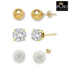 3 Pairs: Pori 14kt Gold-Plated CZ, Crystal Ball, Classic Ball Stud Earrings at 80% Savings off Retail!