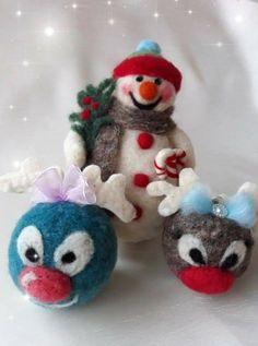 Felt Christmas, Christmas Tree Ornaments, Felted Wool, Wool Felt, December, Holiday Decor, Handmade, Home Decor, Felt Christmas Trees