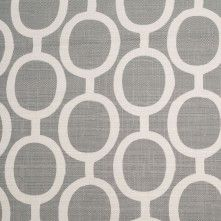 Spanish Gray/White Geometric Poly/Cotton Canvas Fabric by the Yard
