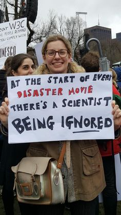 """""At the start of every disaster movie there's a scientist being IGNORED.""  Who's seen some good #marchforscience signs?"""