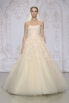 Monique Lhuillier - Peach embroidered lace and tulle strapless ballgown
