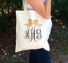 Monogrammed Tote Bag, Glitter Monogram tote bag, Bridesmaid gifts, Christmas gifts, Cheer team Gifts, Lightweight, Personalized Tote Bag