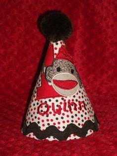 Sock Monkey Birthday Party Hat by MommyTimeDesigns on Etsy, $24.00