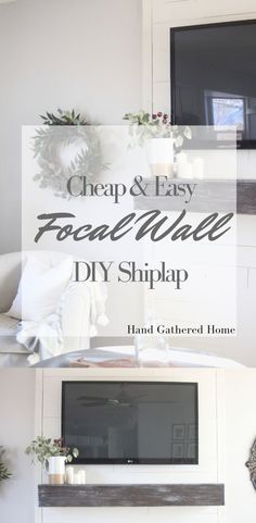 Learn how to make a cheap and easy DIY shiplap focal wall with this simple tutorial. Coffee Table Redo, Woven Blinds, Focal Wall, Room Corner, Furniture Slipcovers, Ship Lap Walls, Small Space Living, Wall Treatments, Living Room Sofa