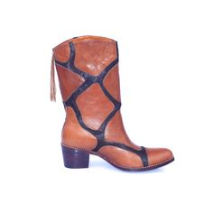 Giraffe -inspired  brown leather and pony-hair boots for safari