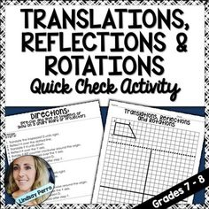 This quick check activity worksheet requires students take one trapezoid through multiple transformations. Reflections across a line/axis, rotations around a point and translations are practiced. A page of three sets of directions is included to be cut and given to students, or displayed on a smart board or with a projector.