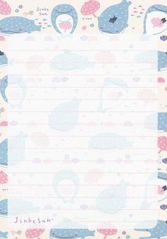 "San-X Jinbesan (""Whale Shark"") ""Underwater Bath"" Memo Printable Scrapbook Paper, Printable Paper, Memo Notepad, Note Doodles, Notes Design, Kawaii Stationery, Kawaii Wallpaper, Memo Template, Planner Stickers"