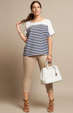 pantalon en crema - beige & camiseta rayas blanco & negro (XL)