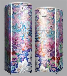 Super cute floral to perk up a dreary kitchen. Rosenlew by Denis Simachev fridge.