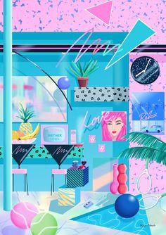 80s Abstract Art Cafe Yoko Honda via By the way