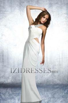 Sheath/Column One Shoulder Elatic Woven Satin Prom Dress - IZIDRESSES.COM