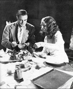 Colin Clive and Valerie Hobson on set of The Bride of Frankenstein