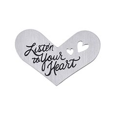 "Origami Owl Custom Jewelry   Medium Silver ""Listen to Your Heart"" Heart Plate"