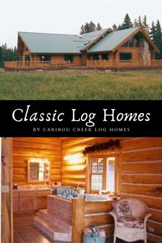 Looking for log cabin design ideas? Check out our blog with some of our classicly timeless log homes. Images filled with rustic decor ideas, handcrafted staircases, and beautiful log home inspiration. #Cariboucreekloghomes #customloghomebuilder #handcraftedloghomes