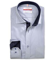 Modern Fit polopriliehavá modrá prúžkovaná košeľa Popelín (plátnová tkanina)