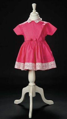 Love, Shirley Temple, Take Two: From Schoolgirl to Storybook: 390 Bright Pink Cotton Dress with Fine Lace Collar and Hem