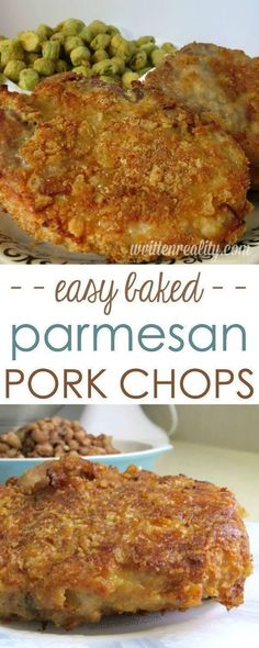 Baked Parmesan Crusted Pork Chops : Serve these parmesan crusted pork chops to your family for dinner. You'd never know they're baked and not fried! It's our all-time comfort food favorite my boys ask (Baking Dinner Families) Baked Parmesan Pork Chops, Parmesean Crusted Pork Chops, Oven Baked Pork Chops, Parmesan Crusted Tilapia, Breaded Pork Chops, Chops Recipe, Pork Dishes, Pork Chop Side Dishes, Snack