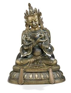 Lot : A Chinese patinated bronze figure of White Chakrasamvara, seated in yab yum with[...] | Dans la vente Art d'Orient à Bruun Rasmussen Auctioneers