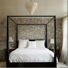 whitewashed exposed brick. 