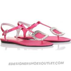 Roger Vivier Thong Hot Pink Satin Flat Sandals