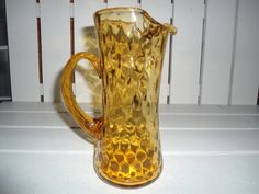 Vintage Amber Hand Blown Art Glass Pitcher by ChangingTreasures