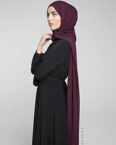 INAYAH | Black Ruched #Abaya + Dark Maroon Maxi Georgette #Hijab  www.inayahcollection.com