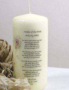 Personalised Candle for Mother of the Bride and Mother of the Groom