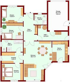Haus ᐅ Bungalow MARE 139 mit Garage - Beds and the Art of Onli Farmhouse Renovation, Floor Plan Layout, Bungalow House Design, Garage Design, House Layouts, Ranch Style, Plan Design, Minimalist Home, House Floor Plans