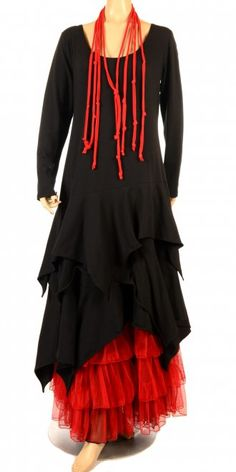 Fantabulous Lagenlook Black Long Sleeve Dress
