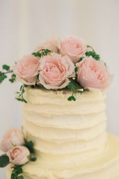 Homemade Elegant Buttercream Wedding Cake with Pink Roses Cake Topper - Lucy Davenport Photography   English Country Garden Marquee Wedding   Essense Wedding Dress   Pink Multiway Bridesmaid Dresses