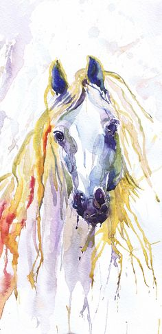 Horse Art Watercolor Animals Painting Print , Wall Art, Animal art, Equestrian Gifts, Equine Art, Watercolour Illustration, horse lover White Horse art