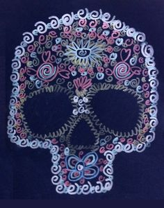 "dArt Projects for Kids: ""Day of the Dead"" Skull Pattern Drawing (cut out and glue to tongue depressor for mask)"