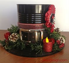 Snowman Hat made out of a coffee can, could also make a smaller version with a… Snowman Crafts, Christmas Projects, Christmas Crafts, Christmas Ornaments, Christmas Ideas, Christmas Snowman, All Things Christmas, Winter Christmas, Christmas Holidays