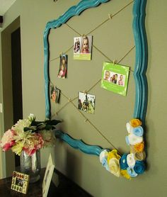 empty frame for displaying photos or kids art. Love the flowers in the corner