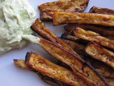 oven-baked sweet potato fries with avocado dip!