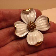 Vintage Signed TRIFARI White Enamel DOGWOOD FLOWER BROOCH Pin Costume Jewelry #Trifari