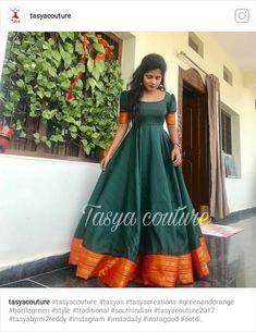 <img> Dress Silk Pattern Indian 59 Ideas Source by - Long Gown Dress, Frock Dress, The Dress, Long Gowns, Half Saree Designs, Kurta Designs, Lehenga Designs, Dress Designs, Saree Gown