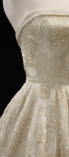 'Les Muguets' (Lily of the Valley) evening dress by Hubert de Givenchy. Paris 1955.