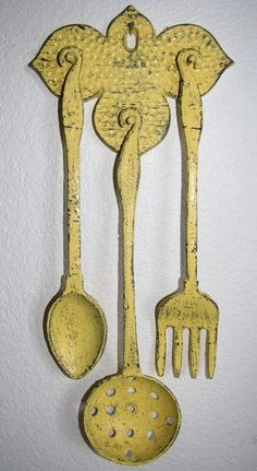 Fork Spoon Cast Iron Trivet Wall Decor in Summer Squash Yellow