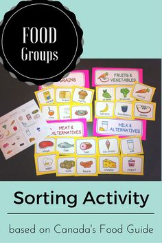 Students can sort food into the four food groups using these food cards and group labels. There is a cut and paste activity and a word search included.