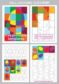 The ImaginationBox: Pop Art inspired Autumn/Fall free templates and colouring activities