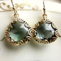 Charcoal Grey Pear Earrings by Earrings