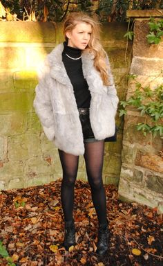 Vintage Silver Fur, Leather Trousers, Old Wall, Tiffany Necklace, Cashmere Sweater,